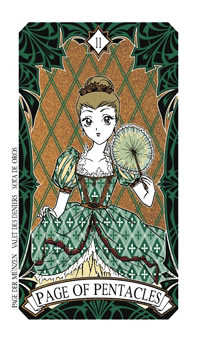 Valet of Coins Tarot Card - Magic Manga Tarot Deck