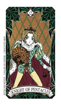 Knight of Coins Tarot Card - Magic Manga Tarot Deck