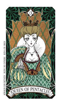 Queen of Coins Tarot Card - Magic Manga Tarot Deck
