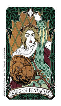 Roi of Coins Tarot Card - Magic Manga Tarot Deck