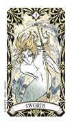 Five of Swords Tarot card in Magic Manga Tarot deck
