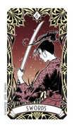 Six of Swords Tarot card in Magic Manga deck