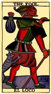 The Fool Tarot Card - Marseilles Tarot Deck