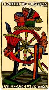 Wheel of Fortune Tarot Card - Marseilles Tarot Deck