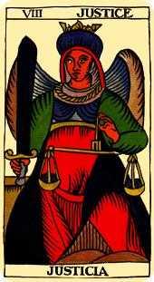 Justice Tarot Card - Marseilles Tarot Deck