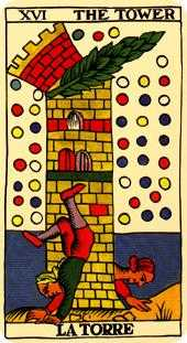 The Blasted Tower Tarot Card - Marseilles Tarot Deck
