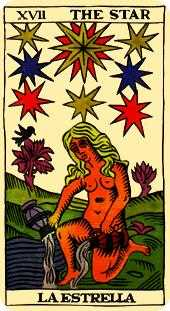 The Star Tarot Card - Marseilles Tarot Deck
