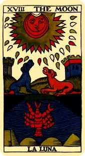 The Moon Tarot Card - Marseilles Tarot Deck