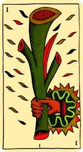 Ace of Sceptres Tarot Card - Marseilles Tarot Deck