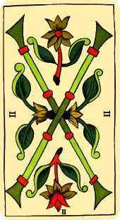 Two of Rods Tarot Card - Marseilles Tarot Deck