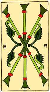 Three of Rods Tarot Card - Marseilles Tarot Deck