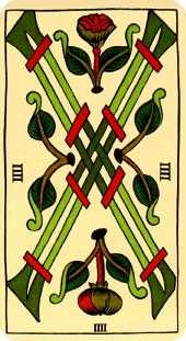 Four of Sceptres Tarot Card - Marseilles Tarot Deck