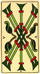 Five of Sceptres Tarot Card - Marseilles Tarot Deck