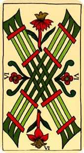 Six of Pipes Tarot Card - Marseilles Tarot Deck