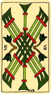 Seven of Staves Tarot Card - Marseilles Tarot Deck
