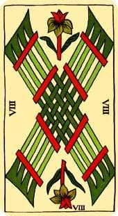 Eight of Staves Tarot Card - Marseilles Tarot Deck