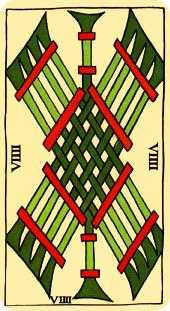Nine of Batons Tarot Card - Marseilles Tarot Deck