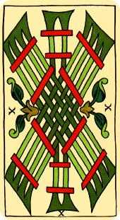 Ten of Staves Tarot Card - Marseilles Tarot Deck