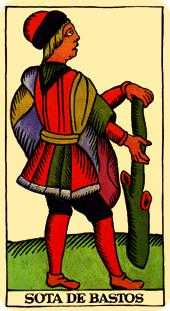 Page of Rods Tarot Card - Marseilles Tarot Deck