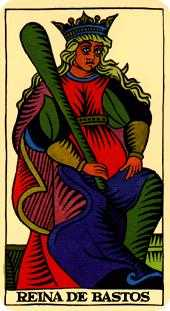 Queen of Rods Tarot Card - Marseilles Tarot Deck