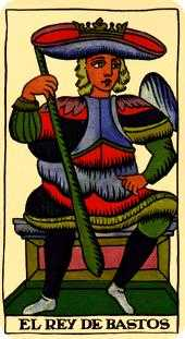 King of Staves Tarot Card - Marseilles Tarot Deck