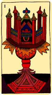 Ace of Cauldrons Tarot Card - Marseilles Tarot Deck