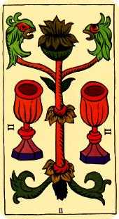 Two of Hearts Tarot Card - Marseilles Tarot Deck