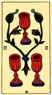 Three of Cauldrons Tarot Card - Marseilles Tarot Deck