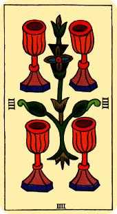 Four of Hearts Tarot Card - Marseilles Tarot Deck