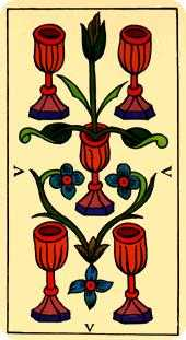 Five of Bowls Tarot Card - Marseilles Tarot Deck