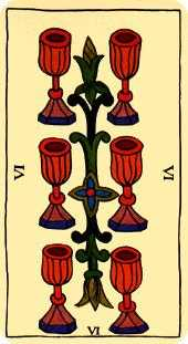 Six of Hearts Tarot Card - Marseilles Tarot Deck