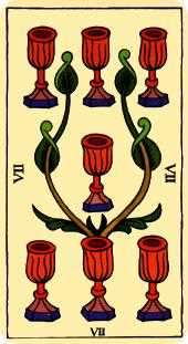 Seven of Hearts Tarot Card - Marseilles Tarot Deck