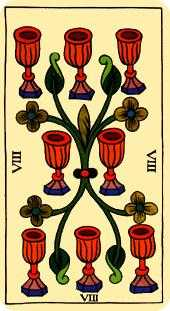 Eight of Bowls Tarot Card - Marseilles Tarot Deck