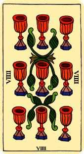 Nine of Water Tarot Card - Marseilles Tarot Deck