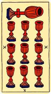 Ten of Water Tarot Card - Marseilles Tarot Deck