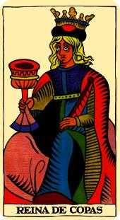 Queen of Bowls Tarot Card - Marseilles Tarot Deck