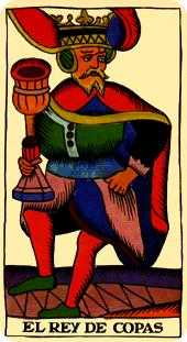 King of Cauldrons Tarot Card - Marseilles Tarot Deck