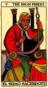 The Hierophant Tarot Card - Marseilles Tarot Deck