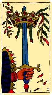 Ace of Swords Tarot Card - Marseilles Tarot Deck