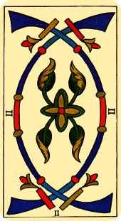 Two of Arrows Tarot Card - Marseilles Tarot Deck