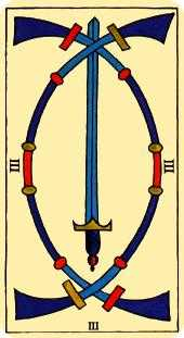 Three of Swords Tarot Card - Marseilles Tarot Deck