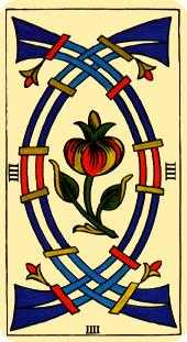 Four of Arrows Tarot Card - Marseilles Tarot Deck