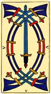Five of Swords Tarot Card - Marseilles Tarot Deck