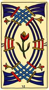 Six of Wind Tarot Card - Marseilles Tarot Deck