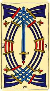 Seven of Swords Tarot Card - Marseilles Tarot Deck