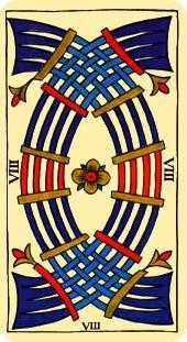 Eight of Arrows Tarot Card - Marseilles Tarot Deck