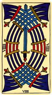 Nine of Arrows Tarot Card - Marseilles Tarot Deck