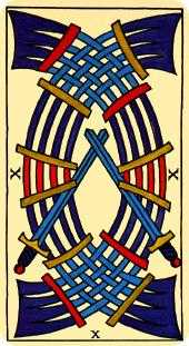 Ten of Arrows Tarot Card - Marseilles Tarot Deck