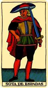 Slave of Swords Tarot Card - Marseilles Tarot Deck