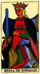Queen of Swords Tarot Card - Marseilles Tarot Deck